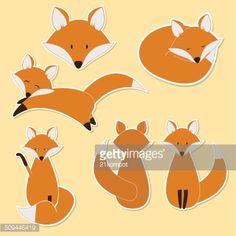 Cute Fox Sticker Set Vector Art | Getty Images