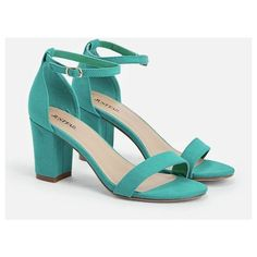Justfab Heeled Sandals Vivica ($40) ❤ liked on Polyvore featuring shoes, sandals, green, block heel platform sandals, green sandals, high heeled footwear, wide shoes and green shoes