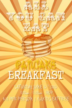 Design created with PosterMyWall Pancake Breakfast, Party Flyer, For Your Party, Concert Posters, Flyers, Vintage Posters, Fundraising, Vintage Designs, Budgeting