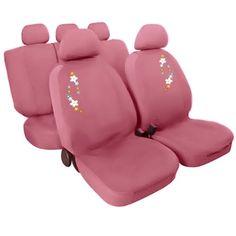 Coprisedili universali con fiore ricamato rosa - accessori vari
