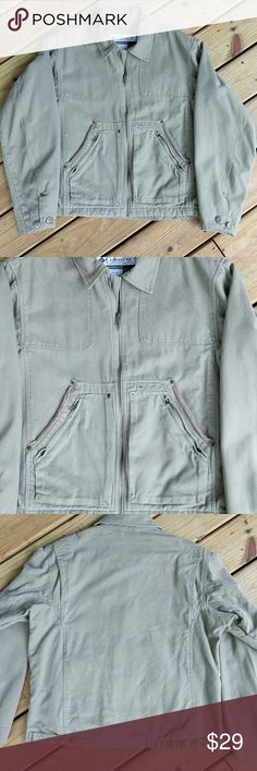 Men's Columbia Jacket River Lodge series jacket. Canvas with warm flannel lining, many pockets. Gently warn, great condition.   Jean jacket style. Columbia Jackets & Coats Military & Field