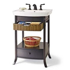 Bath Storage; black-finished maple base comes with a rustic rattan top drawer (coated with polyurethane for easy cleaning) to hold backup bars of soap, a bottom drawer deep enough for extra rolls of toilet tissue, and space in between for a basket of other grooming essentials or tall canisters. And all for a nice price. Kohler vanity, about $290, and sink, about $109; Expo Design Centers