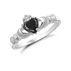 Sterling Silver Black Onyx Heart Claddagh Ring Size 8 ($24) ❤ liked on Polyvore featuring jewelry, rings, accessories, onyx jewelry, black onyx ring, heart shaped rings, sterling silver heart ring and sterling silver heart jewelry