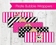 Pink Pirate Bubble Wrappers that are perfect for all your girl pirate themed parties! Each wrapper measures approximately 2 x 5.5.  Here is what