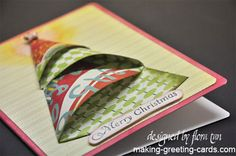 Origami Christmas Card - 3D card using designer paper and folding it into a tree.
