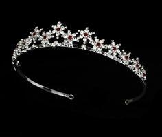 Burgundy Red Silver Plated Snowflake Winter Wedding Bridal Tiara- Affordable Elegance Bridal