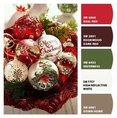 Paint colors from ColorSnap by Sherwin-Williams Christmas Palette, Christmas Colors, Christmas Wreaths, Paint Color Combos, Paint Colors, Vintage Holiday, Dark Red, Color Palettes, Cocoa