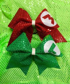 Hey, I found this really awesome Etsy listing at https://www.etsy.com/listing/208879634/mario-and-luigi-cheer-bow-set