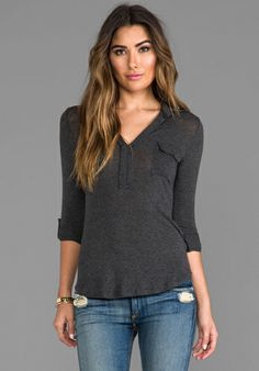 Splendid Drapey Lux Shirting Top in Charcoal