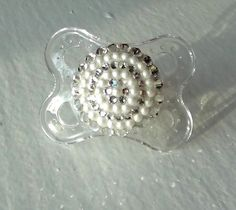 GLAM BABY!!!! DIAMONDS and PEARLS Swarovski Pacifier Baby Infant by tropical5, $20.00