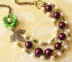 Flower Necklace Pearl Jewelry Leaf Necklace Bridesmaid Jewelry Multi Strand Statement Necklace Fall Jewelry. $38.00, via Etsy.