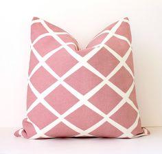 Pale Pink Lattice decorative Designer Pillow Cover 18 cream white Diamonds Accent Throw Cushion modern light pink Valentines Days