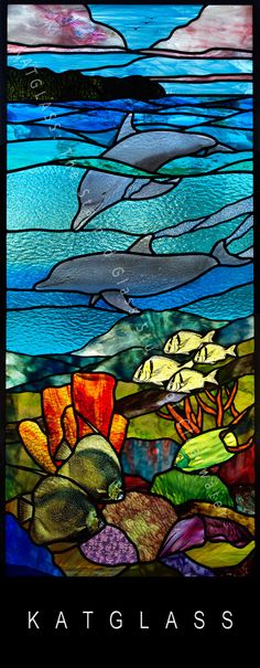 Coral Reef Dolphin Stained Glass Door Clearwater Beach Florida created by KATGLASS: The Stained Glass Studio of Clearwater, Florida. Creating the best underwater stained glass panels. Stained Glass Studio, Custom Stained Glass, Stained Glass Paint, Stained Glass Crafts, Stained Glass Designs, Stained Glass Panels, Stained Glass Patterns, Leaded Glass, Mosaic Glass
