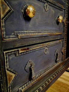 Aparador vintage Azul Noche shabby chic francés | Alicia Designart