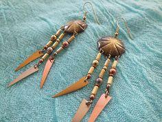Vintage Tribal Warrior Bohemian Dangle Earrings #tropical #boho #bohemian #mermaid #india #tribal