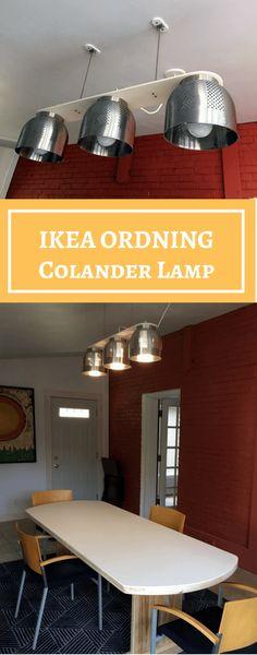 A Colander Chandelier, a modern dining table light http://www.ikeahackers.net/2017/10/colander-chandelier-modern-dining-table-light.html