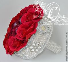 Fabric Bouquet, Broach Bouquet, Red Rose Bouquet, Wedding Brooch Bouquets, Bridesmaid Bouquet, Fabric Flowers, Flower Girl Basket, Bridesmaids And Groomsmen, Rose Wedding