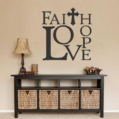 Christian Wall Decal Faith Hope Love, Religious Vinyl Wall Lettering, Bible Quotes for Home Decoration, Inspirational Scripture Verse Christian Wall Decals, Christian Decor, Church Foyer, Church Lobby, Wal Art, Foyer Decorating, Decorating Ideas, Decor Ideas, Wall Ideas
