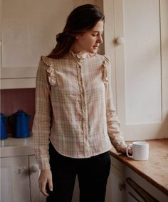 Vintage Denim, Vintage Fashion, Leftover Fabric, Plaid Fabric, Denim Skirt, Vintage Inspired, Organic Cotton, Winter Outfits, Ruffle Blouse