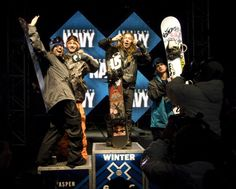 Kevin Pierce on the Winter X Games 15 halfpipe podium. P: Ned Cremin