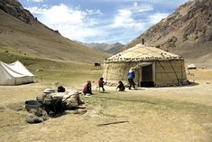 Nomads along the Silk Road  This family has set up camp with their yurt in Tajikistan. ::  Photo © Jean-Luc Ray, Aga Khan Foundation