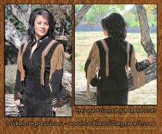 Tribal Impressions Hanna In Black - Lady's Beaded & Fringed Suede Indian Western Jacket With Optional Skirt - www.indianvillagemall.com