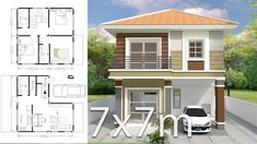 House design plan with 3 bedrooms. Style Modern House description: Number of floors 2 storey house bedroom 3 rooms toilet 2 rooms maid's room 3d House Plans, Model House Plan, House Layout Plans, Bedroom House Plans, Small House Plans, House Layouts, 2 Storey House Design, Two Storey House, Bungalow House Design