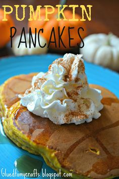 Pumpkin Pancakes Recipe. Absolutely delicious!!! I didn't use ginger. And I topped with syrup, powdered sugar, and sprinkled cinnamon.