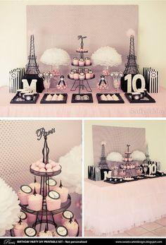 Conjunto París fiesta imprimible - invitación, Cupcake Toppers, empavesado, etiquetas a Favor y más - descarga inmediata