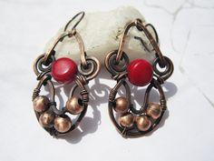 Маша. Copper coral earrings  by Mary Bulanova.