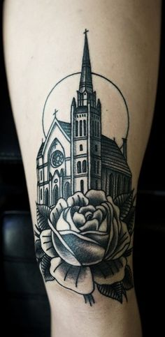 I really like the idea of a church building, but it doesn't have to be this extravagant, it can be like an old country church, if it fits, black and grey, with whatever or nothing as background