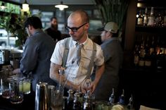 Barman Evan Zimmerman prepares to work his magic on the Furious George (nice shout out in a Yahoo article!)
