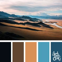 This view is breathtaking, and it makes a great color palette full of browns and blue hues   Click for more color combinations inspired by beautiful landscapes and other coloring inspiration at http://sarahrenaeclark.com   Colour palettes, colour schemes, color therapy, mood board, color hue