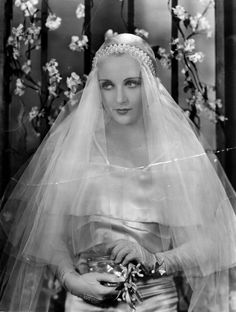 Carole Lombard was no stranger to bridal wear, having modeled such gowns as far back as her first leading film role in 1930s Wedding, Vintage Wedding Photos, Vintage Bridal, Wedding Bride, Wedding Dresses, Vintage Weddings, Lesbian Wedding, Wedding Menu, Romantic Weddings