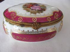 Vintage France Limoges Porcelain Jewlery Box Lovers -  Flower & Gold Decoration