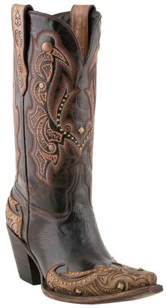 #Lucchese Style M5706, Women's: Calf #Boot with Allison Hand-Tooled Design in Granito Cafe