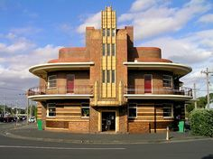 Edited photo of the art deco style moderne building at 199 Queens Parade, Clifton Hill. The site was orginally the United Kingdom Hotel with previous buildings in 1880 and The present building was designed by JH Wardrop (also Alkira House see www. Architecture Art Nouveau, Contemporary Architecture, Interior Architecture, Pavilion Architecture, Organic Architecture, Residential Architecture, Australian Architecture, Building Architecture, Landscape Architecture