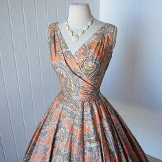 1950's ALEX COLMAN Paisley Print Dress