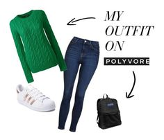 """""""Casual day of highschool"""" by fragilerose14 on Polyvore featuring Topshop, Lands' End, adidas, JanSport and casual"""