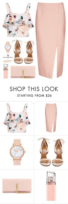 """""""Nude with C.P. Watch"""" by ellyg91 ❤ liked on Polyvore featuring New Look, C/MEO COLLECTIVE, Aquazzura, Yves Saint Laurent, HUGO, Lana Jewelry and christianpaul"""