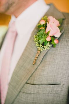 Soft pink roses + hypericum berry boutonniere - Rockmart Wedding at Spring Lake from Brita Photography