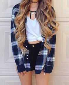 Fall fashion. Cute fall outfit. High waisted black shorts. Flannel. White t-shirt tied in a knot. Strappy bralette