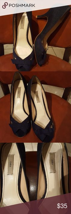 Zara denim blue heels size 7 Zara denim blue heels size 7,  loved but no scuffs on outside of shoe.  Denim is intact, only some staining on inside of shoe from normal wear. Heels are 2 in. hugh, these are super cute! Any questions let me know:) bundles of 2 or more receive a 10% discount! Zara Shoes Heels