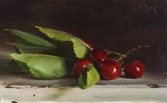 Julian Merrow paintings | daily painting titled Cherries from the tree - click for enlargement