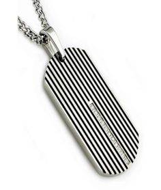 Art Deco inspired men's pendant with a classic dog tag shape, black enamel stripes and a strip of CZ, all in durable stainless steel.