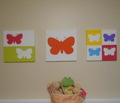 Use code Holiday20 to save 20% on any $20 purchase through 12/14/14.  Butterfly Nursery Art Modern Pop Art Canvas Hand by midwooddesign