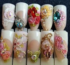 Fabulous Nails, Gorgeous Nails, Pretty Nails, 3d Nail Designs, French Nail Designs, 3d Acrylic Nails, 3d Nails, Nail Manicure, New Flame