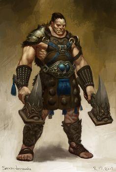 Half-orc warrior by toshi13go.deviantart.com on @DeviantArt