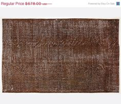 ON SALE 9,6 x 6 FT __288 X 181cm            Vintage Brown handmade faded-distressed overdyed rug Free shipping (4215)