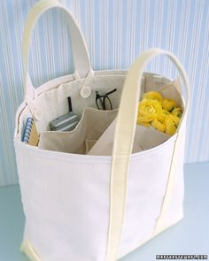 maybe make for straw tote out of scrap fabrics? Removable Tote Organizer - Martha Stewart Crafts